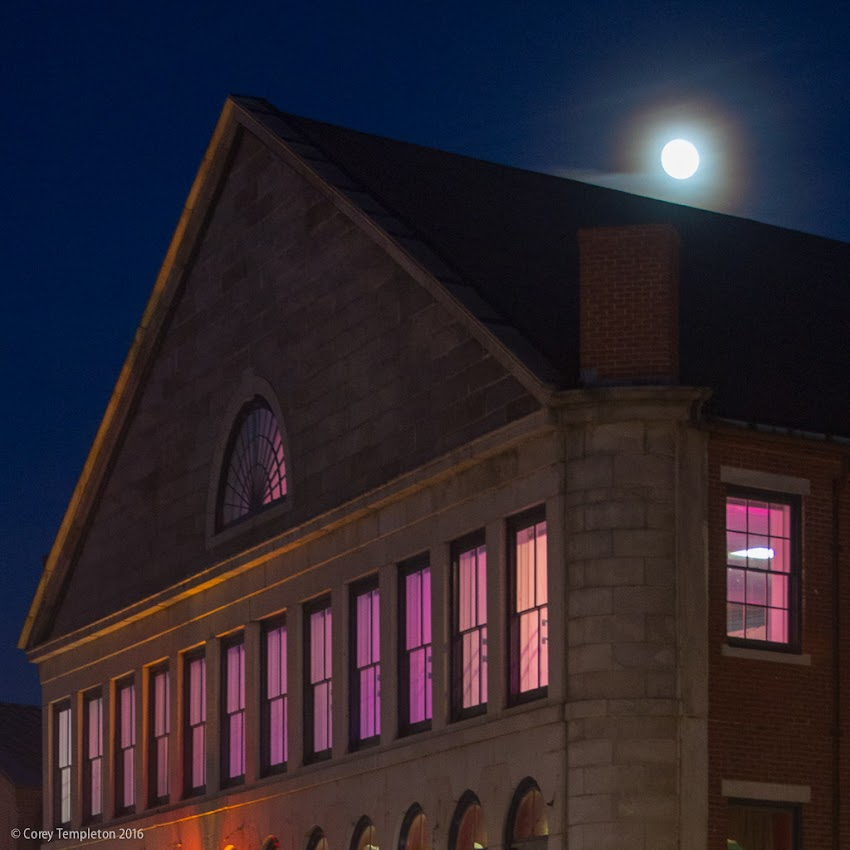 Portland, Maine USA November 2016 photo by Corey Templeton. The moon rising beyond the Mariner's Church building on Fore Street.