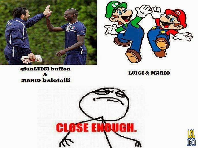 buffon and balotelli like luigi and mario - funny celebrities picture