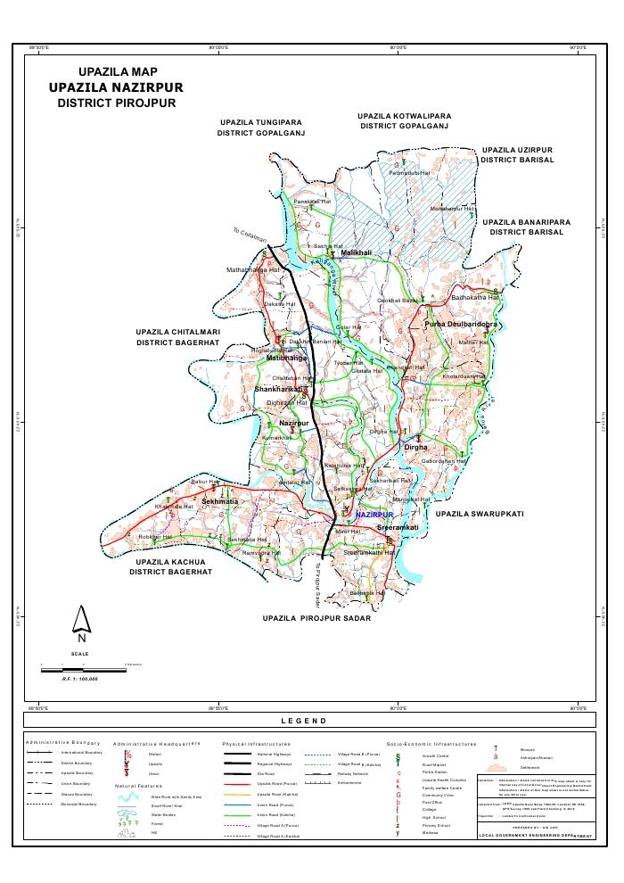 Nazirpur Upazila Map Pirojpur District Bangladesh