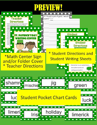 Fern Smith's Classroom Ideas FREE St. Patrick's Day Writing Center and Printables.