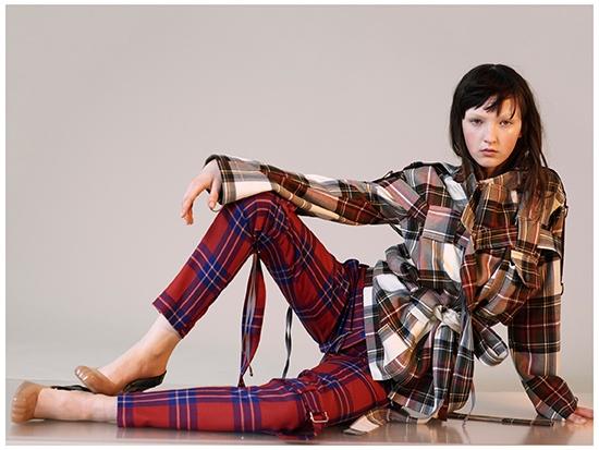 ca20afe1dea A model for Vivienne Westwood wearing an Exhibition Tartan Bondage jacket