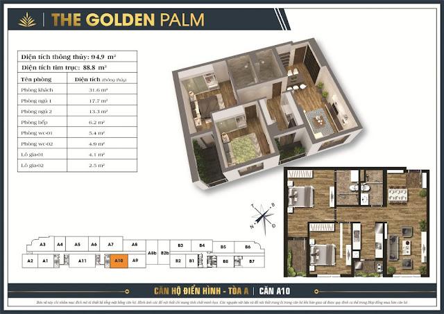 Mặt bằng căn A10 tòa A The Golden Palm