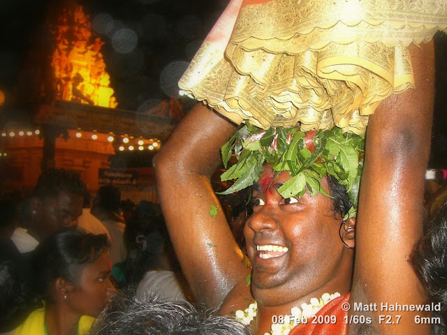 Thaipusam Festival, Malaysia, Kuala Lumpur, Batu Caves, kavadi attam, ceremonial sacrifice, ceremonial offering, Tamil man, Hindu man, Malaysian Indian man, street portrait