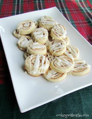 platter of cinnamon roll cookies