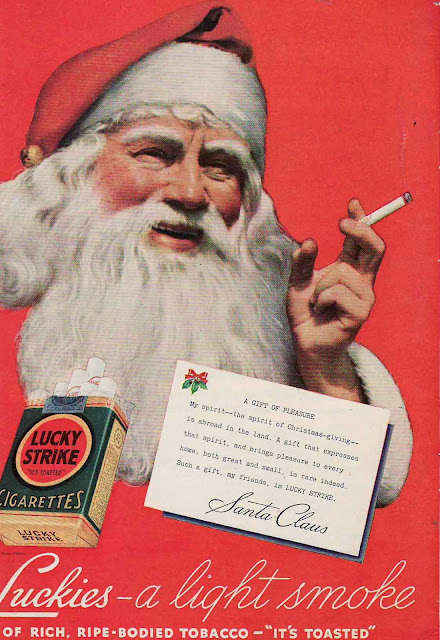 Old Ads, smoking, Christmas, Santa,funny