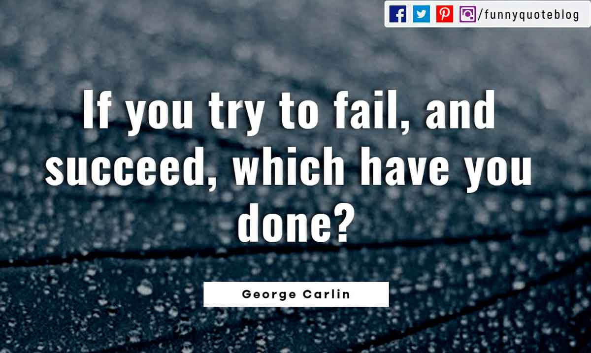 If you try to fail, and succeed, which have you done? ― George Carlin Quote