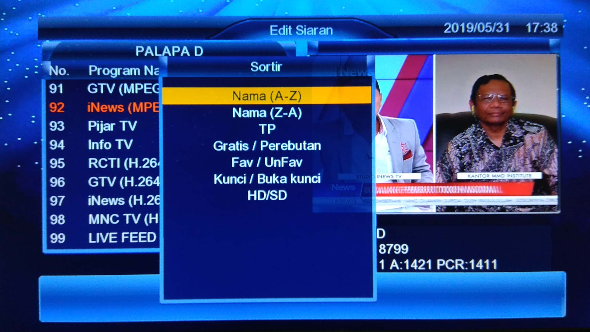 Cara Mengurutkan Chanel TV Parabola Goldsat Lily HD