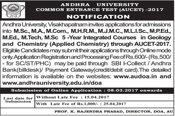 AUCET 2017,AU PGCET, Andhra University PG Entrance Test 2017