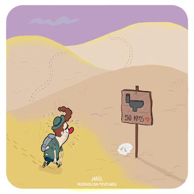 Hombre perdido en el desierto, viñeta humor gráfico dominicano por Jarúl Ortega