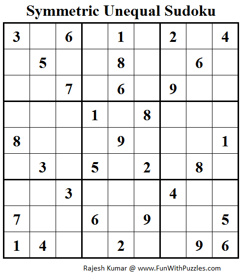 Symmetric Unequal Sudoku (Fun With Sudoku #80)