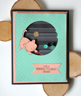 Kitten with Yarn Shaker Card by Jess Crafts featuring Gerda Steiner Designs
