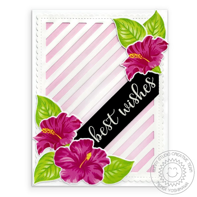 Sunny Studio Stamps: Hawaiian Hibiscus Pink Best Wishes Wedding Card (using Frill Frames Stripes Dies)