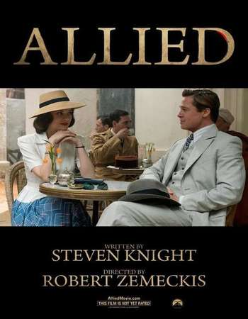 Poster Of Allied 2016 English 550MB BluRay 720p ESubs HEVC Free Download Watch Online downloadhub.in