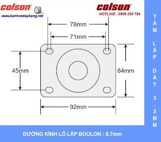 Kích thước Bánh xe xoay 360 càng nhựa Colson 3 inch chịu tải nhẹ | STO-3856-448 sử dụng ổ bi