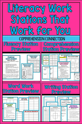 These *easy maintenance* work stations will keep your students focused on improving their literacy skills with easy to follow activities that reach the heart of literacy learning including word work, fluency, comprehension, and writing.