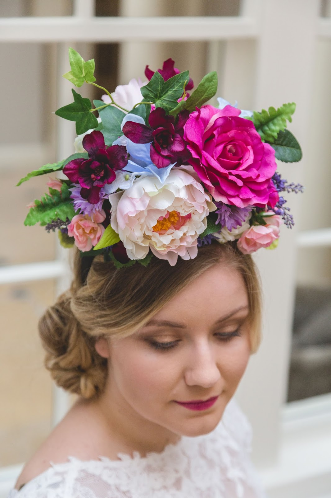 Bristol vintage wedding fair flora bella beautiful couture flower you can design your own luxurious flower crown using silk flowers feathers and vintage accessories izmirmasajfo
