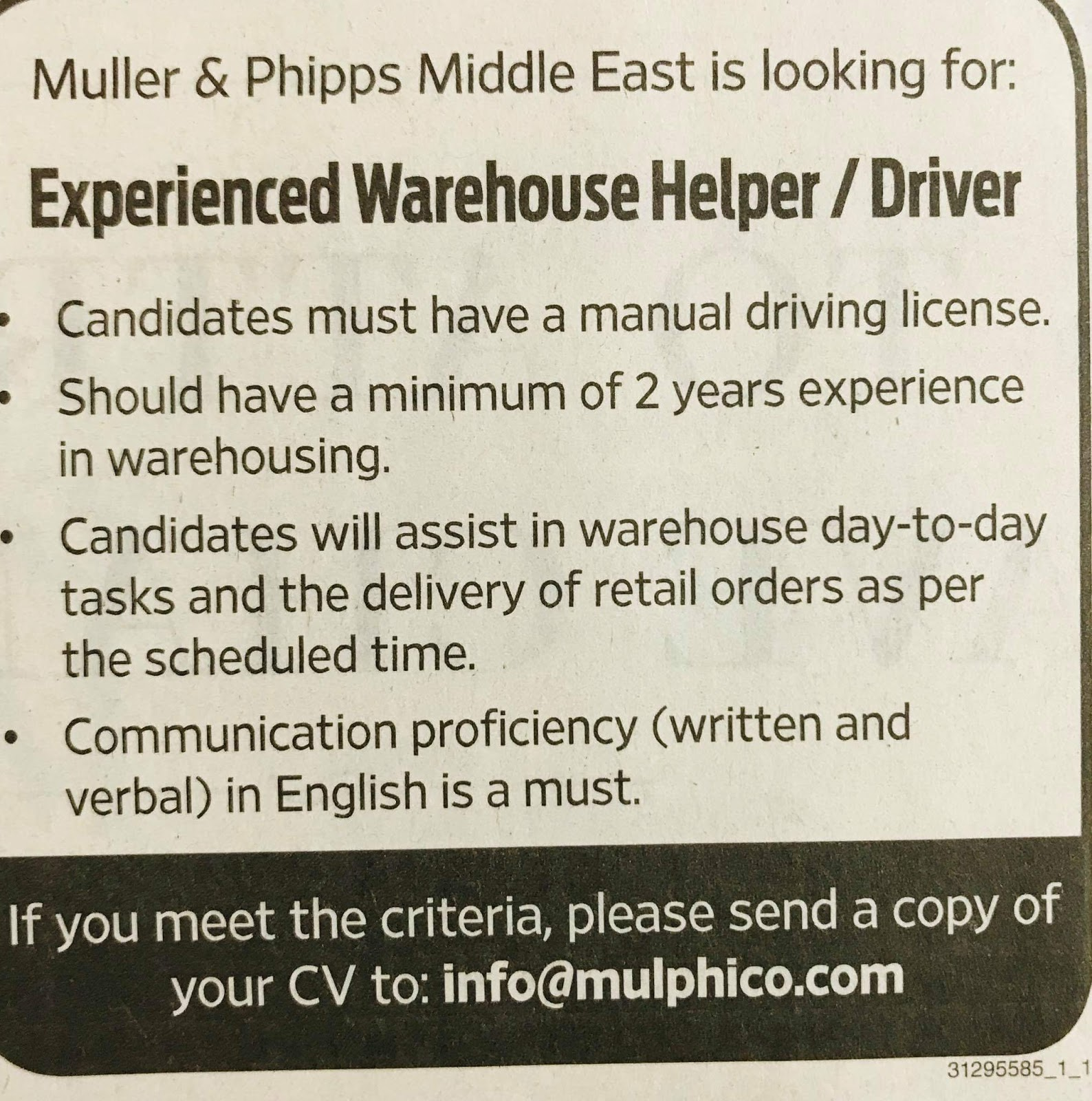 Required Warehouse Helper / Driver for UAE JOBS Local Hiring