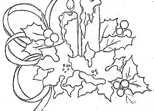 desenho de velas com bicos de papagaio e laco de fita para pintar
