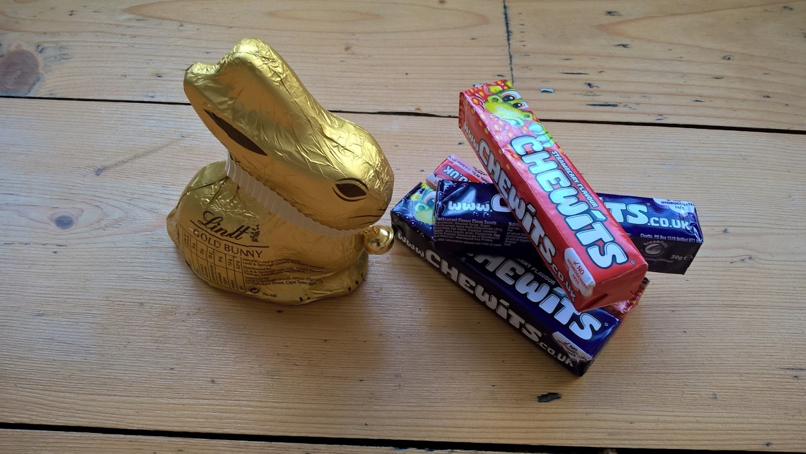 Lindt White Chocolate Gold Bunny & Chewits Sweets - food subscription boxes - motherdistracted.co.uk