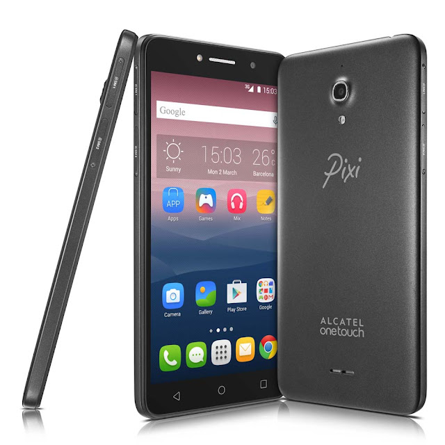 "Smartphone alcatel Pixi4 6 Preto com Tela 6"" qHD, Memória 8GB, Câmera 13MP, Selfie 8MP com flash, Quad Core 1.3Ghz, Android 5.1, Dual Chip e 3G"