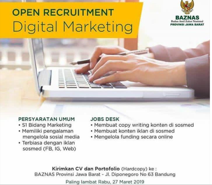 Lowongan Kerja Digital Marketing Baznas Republik Indonesia Tahun 2019
