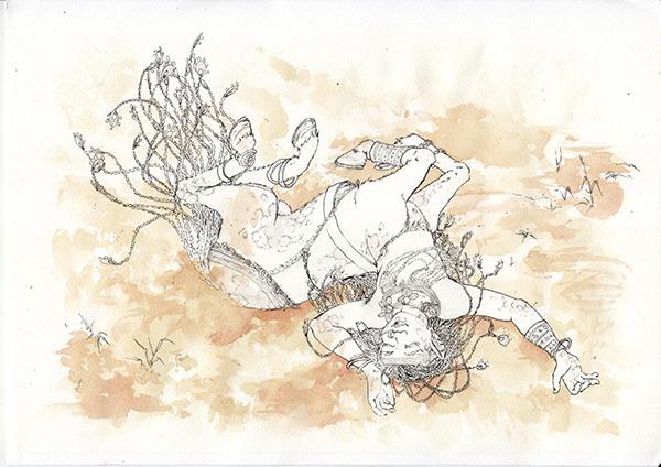 WIP aquarelle Centaure - Astate