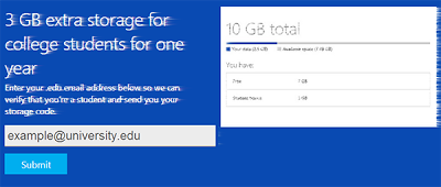 3 GB free by skydrive for students