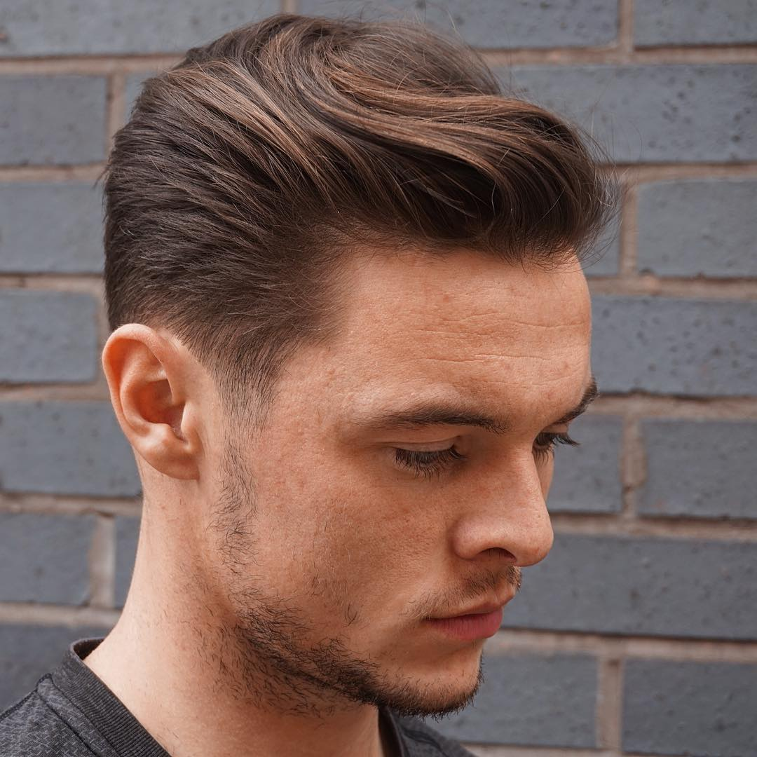 Short Sides + Long Top + Wavy Texture Slicked Back Hairstyle