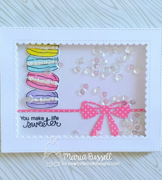 Macarons card by Maria Russell | Love & Chocolate stamp set by Newton's Nook Designs #newtonsnook