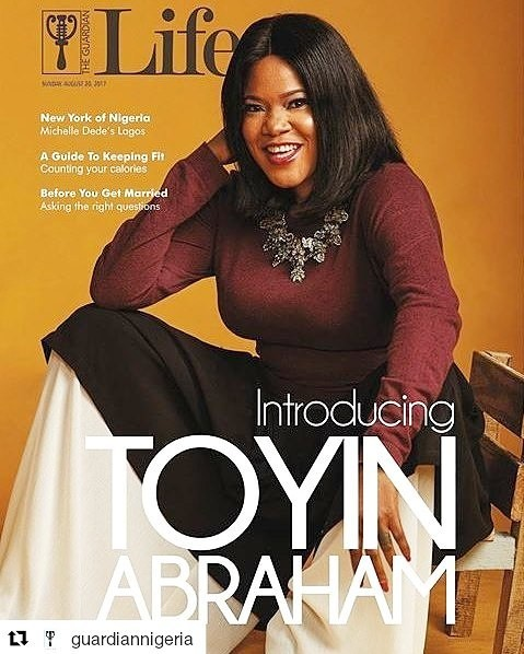 """""""Toyin Abraham undeniably stunning as she graces the front page of The Guardian, talks about her childhood and the reason behind changing her name from Toyin Aimakhu to Toyin Abraham."""""""