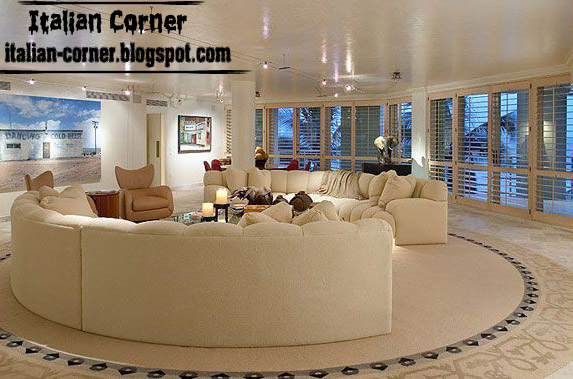 Italian Living Room Design Ideas With Round Sofas Cream Sofa For