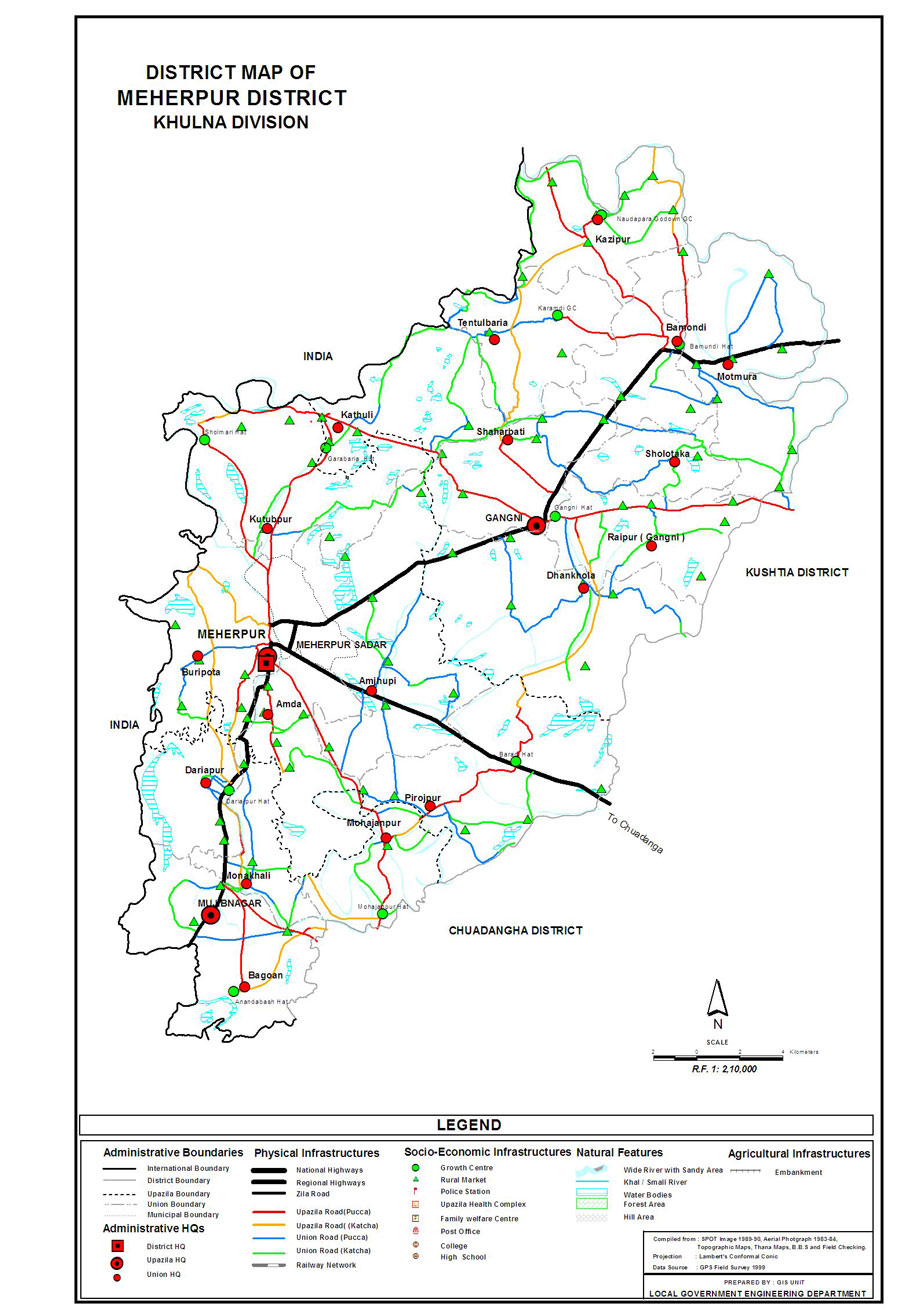 Meherpur District Map Bangladesh