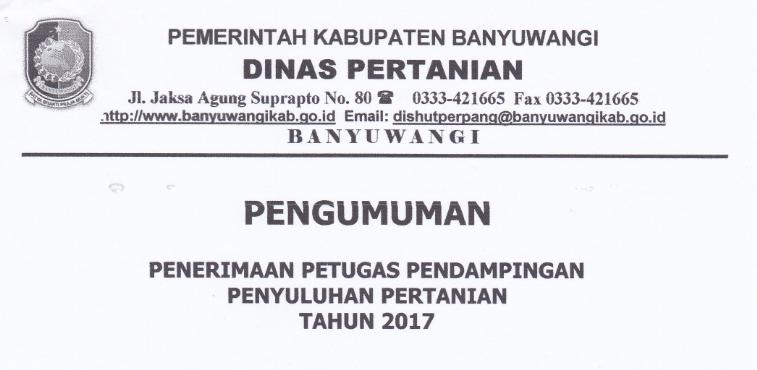 Lowongan Kerja Non Pns Kantor Dinas Pertanian Tahun 2017 Lowongan