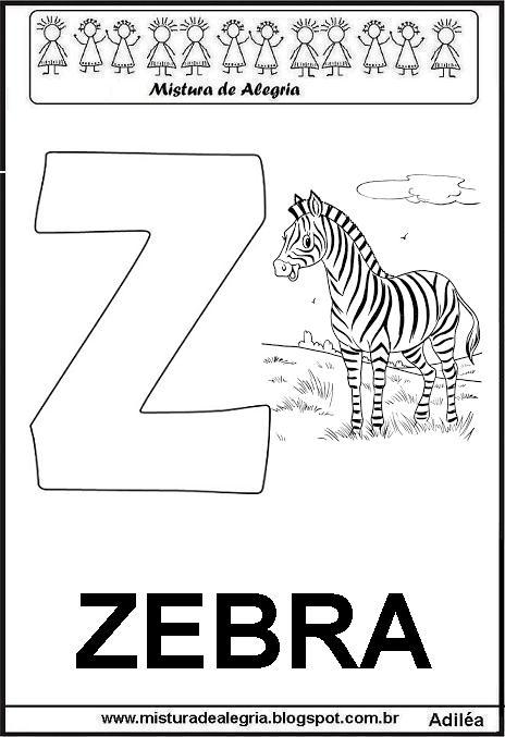Alfabeto Letra Z Pra Imprimir E Colorir Em 2020 Alfabeto