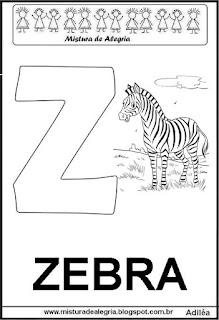 Alfabeto - letra Z, pra imprimir e colorir