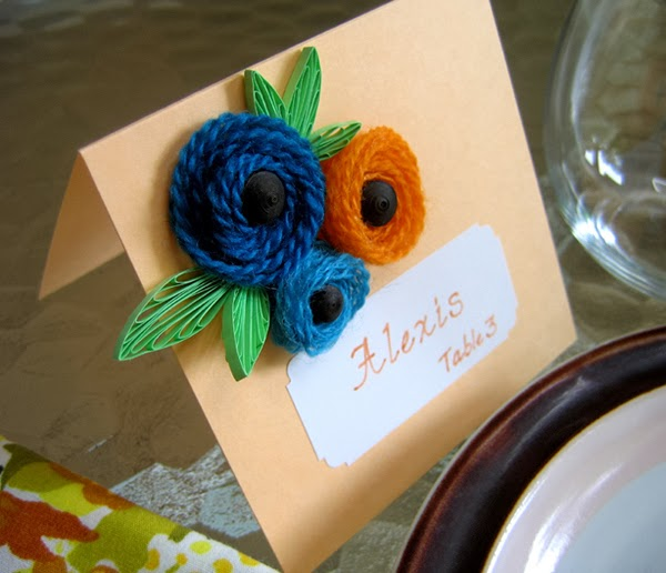 Rolled Yarn Flowers with Quilled Leaves Card