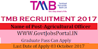 Tamilnadu Mercantile Bank Recruitment 2017– Agricultural Officer