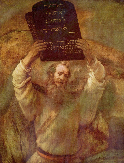 Moses Breaking the Tablets of the Law by Rembrandt (1659)