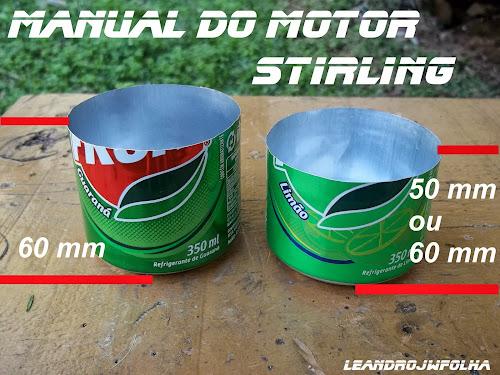 Manual do motor Stirling, medidas dos dois cabeçotes