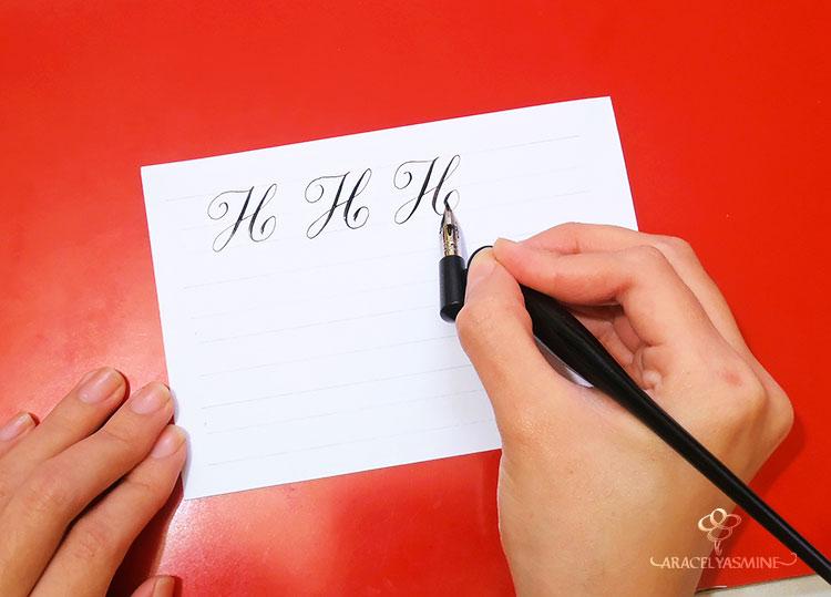 caligrafia copperplate cursiva inglesa como escribir letra h