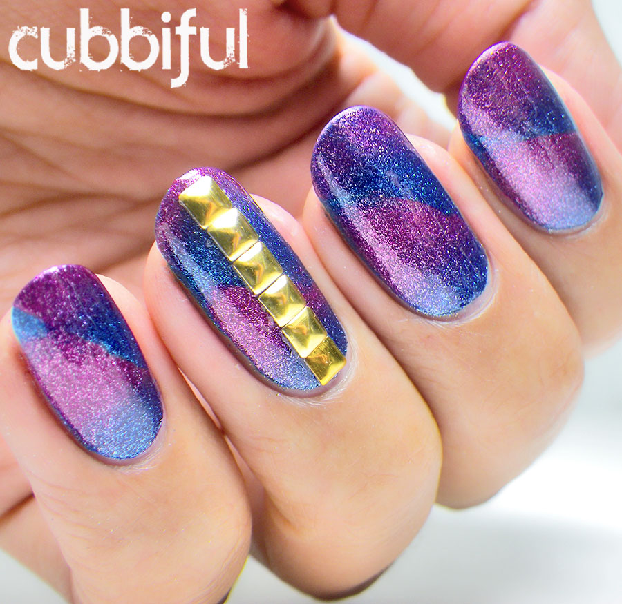 Diagonal Scaled Gradient nails with square gold studs