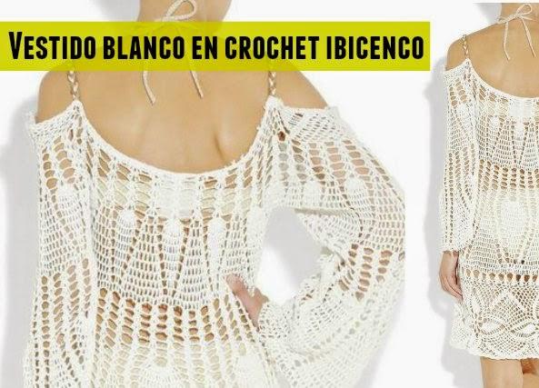 vestido, blanco, tejer, crochet, patrones, ganchillo, Ibiza, Spain