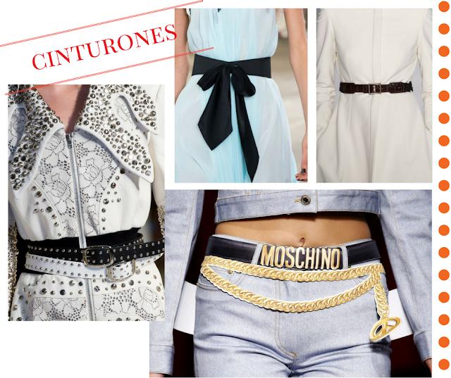 Cinturones dorados, plateados, de piel, con hebillas, lazos.