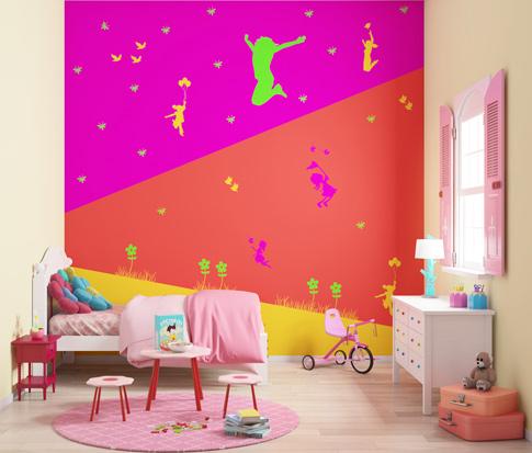 لون جدار حائط بنات اطفال غرفة نوم