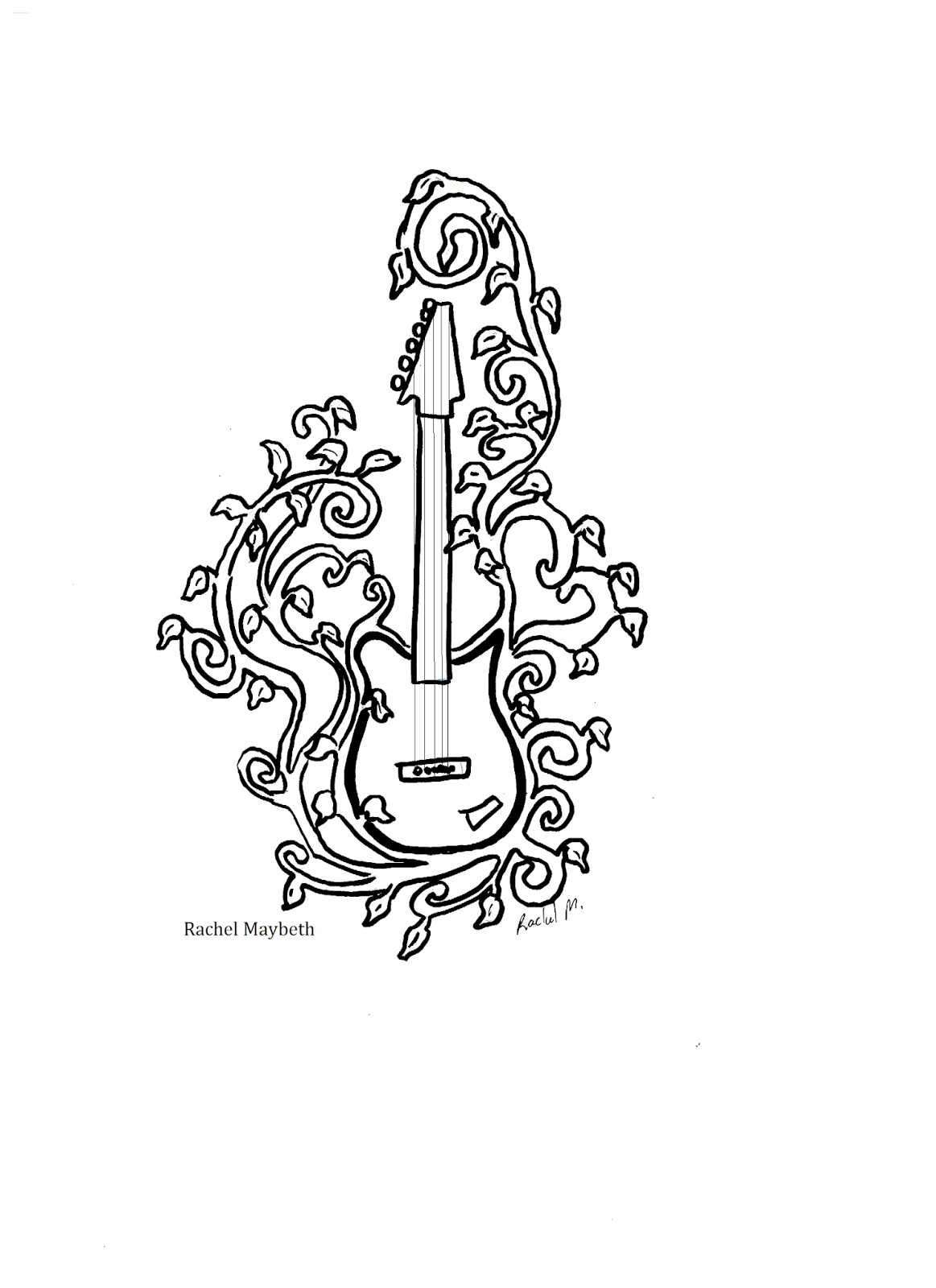 Rachel Maybeth Guitar And Piano Clip Art Free Coloring