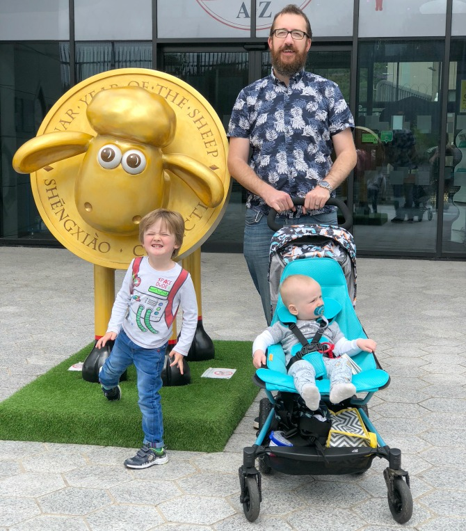 hubby and kids at the royal mint