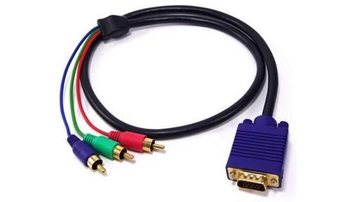 Cabo RGB pode ser convertido para VGA, DVI ou HDMI no computador e PC