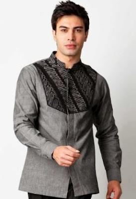 Kemeja batik pria kombinasi lengan panjang