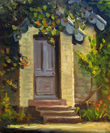 Oil painting of the doorway of a brick Victorian schoolhouse.  There are steps leading up to the doorway, and the schoolhouse is surrounded by trees and shrubs.