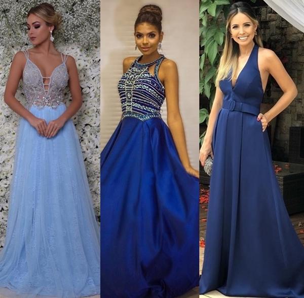 Vestido azul: 15 vestidos longos em vários tons de azul